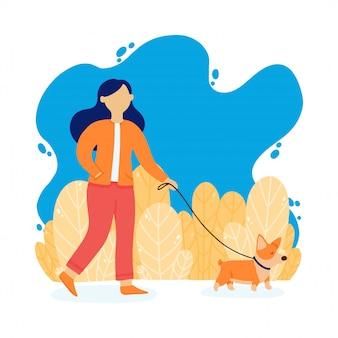 Das mädchen geht mit einem hund spazieren. dame mit corgihund im park. vektorillustration in einer flachen art.