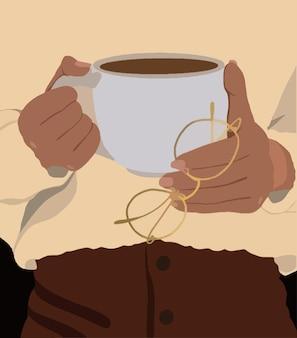 Das mädchen hält eine tasse kaffee und eine brille in den händen. vektor-illustration