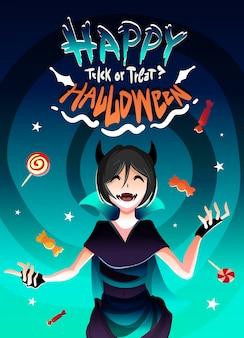 Das mädchen im hexenkostüm für halloween im süßigkeitenregen. glückliches halloween-illustrationskarikatur-anime-stil.
