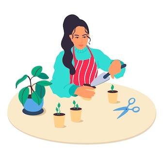 Das mädchen kümmert sich um zimmerpflanzen. vektor-illustration