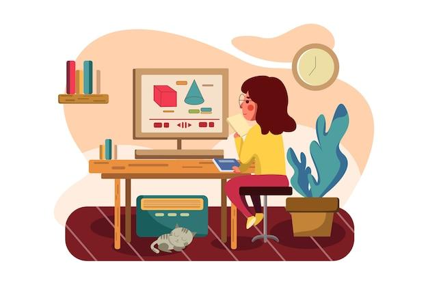 Das mädchen lernt online mathe nachhilfe illustration.