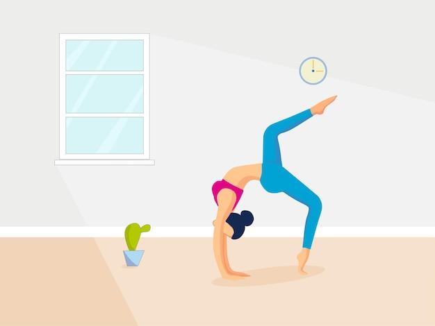 Das mädchen macht yoga im zimmer vektor-illustration sportliche aktivität
