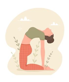 Das mädchen macht yoga. yoga-praxis und lebensstil. vektorillustration.