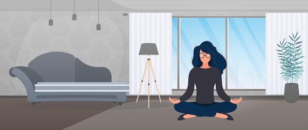 Das mädchen meditiert im raum. mädchen, das yoga tut. vektor-illustration.