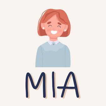 Das mädchen mia lächelt. schüler der mittelschule. vektor-illustration