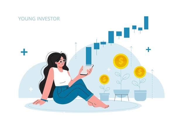 Das mädchen schaut auf ihr telefon-börsen-investitionswachstumsrate gewinn der jungen generation