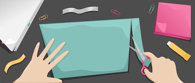 Das mädchen schneidet eine farbige papierscheiße. wunschkarte. hobbys und papierhandwerk.