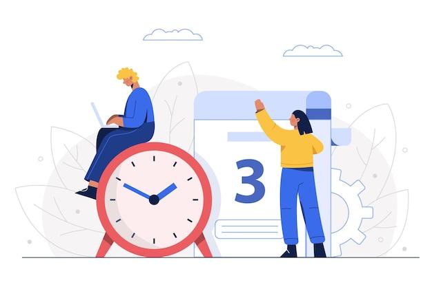 Das management prüft den geschäftsplan des unternehmens und legt das projektstartdatum fest.