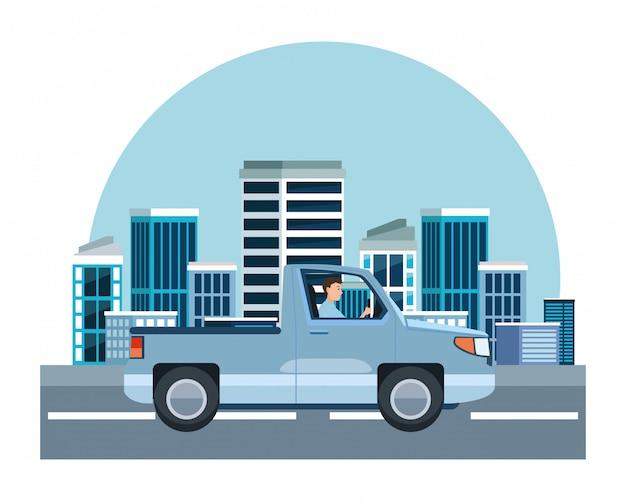 Das mannfahren heben fahrzeug sideview karikatur auf