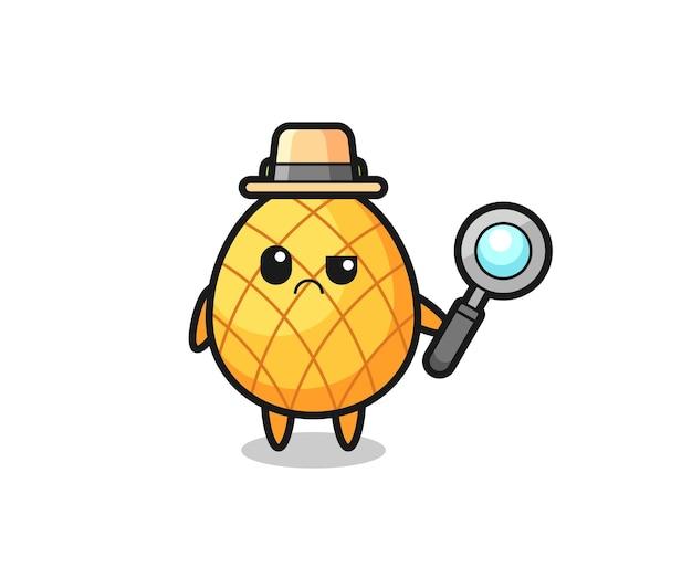 Das maskottchen der süßen ananas als detektiv, süßes stildesign für t-shirt, aufkleber, logoelement