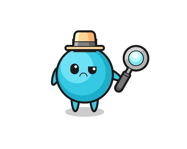 Das maskottchen der süßen blaubeere als detektiv, süßes stildesign für t-shirt, aufkleber, logo-element