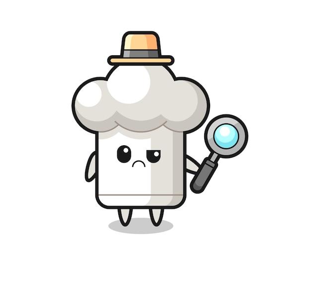 Das maskottchen der süßen kochmütze als detektiv, süßes stildesign für t-shirt, aufkleber, logoelement