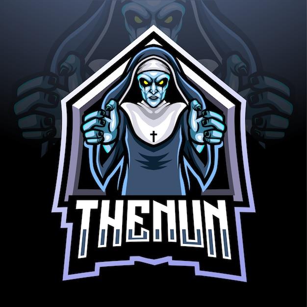 Das maskottchen-design des nonnen-esport-logos