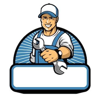 Das mechanikermaskottchen mit schlüssel