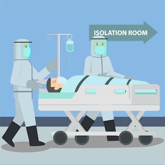 Das medizinische personal bringt den patienten covid19 in den isolationsraum