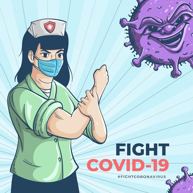 Das medizinische personal, der wahre held, kämpft um das coronavirus