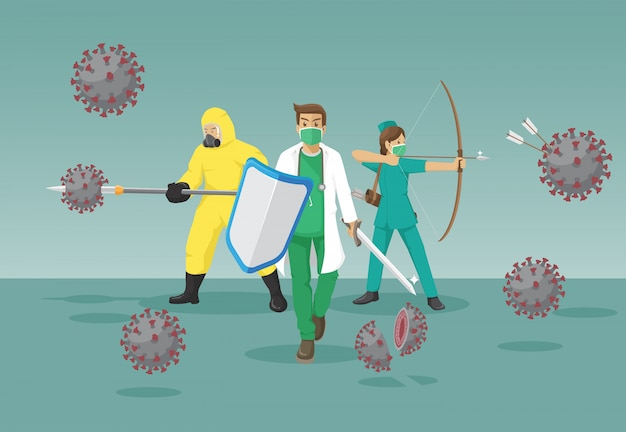 Das medizinische team bekämpft das koronavirus
