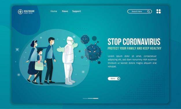 Das medizinische team versucht, das coronavirus zu stoppen und die illustration der familien auf der zielseite zu schützen
