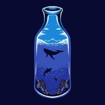 Das meer auf der flaschenillustration Premium Vektoren