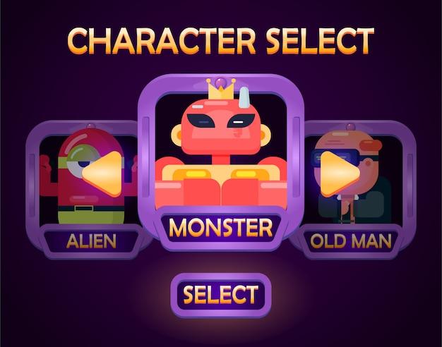 Das menü zur charakterauswahl wird für die elemente der spiel-benutzeroberfläche angezeigt