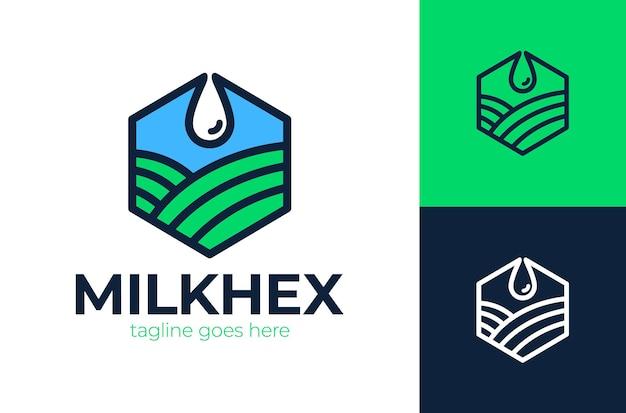 Das milchtropfen-logo-design wird mit der hexa-form des gartens kombiniert