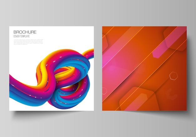 Das minimale illustrationslayout von zwei quadratischen formaten umfasst designvorlagen für broschüre, flyer und magazin. futuristisches technologie-design, bunte hintergründe mit fließender farbverlaufsformkomposition