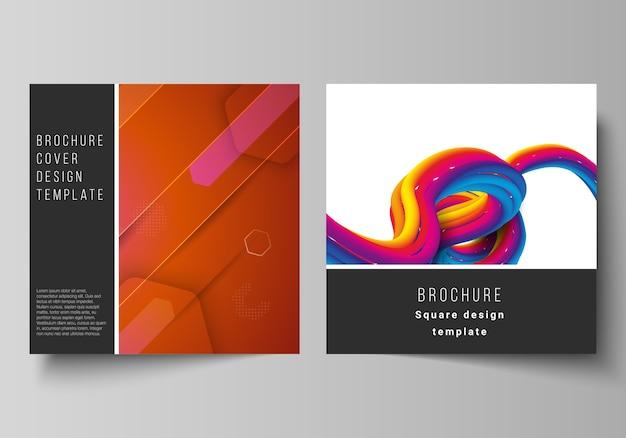 Das minimale illustrationslayout von zwei quadratischen formaten umfasst designvorlagen für broschüre, flyer und magazin. futuristisches technologiedesign, bunte hintergründe mit fließender farbverlaufsformkomposition