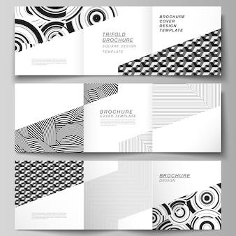 Das minimale layout des quadratischen formats umfasst entwurfsvorlagen für dreifach gefaltete broschüren, flyer und magazine.