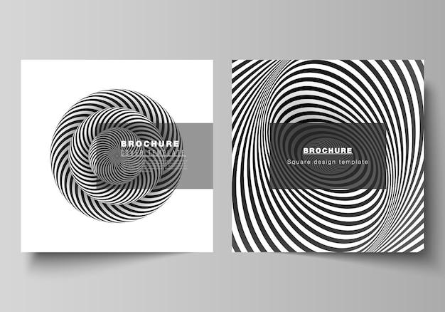Das minimale layout von zwei quadratischen formaten umfasst designvorlagen für broschüre, flyer und magazin. abstrakter geometrischer 3d-hintergrund mit schwarzweiss-entwurfsmuster der optischen täuschung.