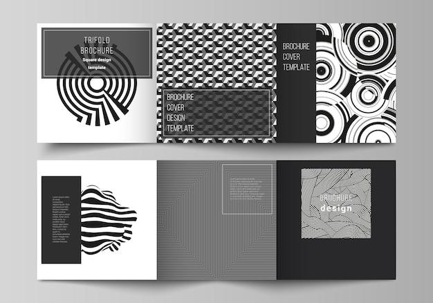 Das minimale vektor-layout des quadratischen formats umfasst designvorlagen für dreifach gefaltete broschüren-flyer-magazine mit trendigem geometrischem abstraktem hintergrund im minimalistischen flachen stil mit dynamischer komposition