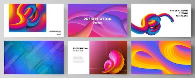 Das minimalistische abstrakte illustrationslayout der präsentationsfolien entwirft geschäftsvorlagen. futuristisches technologiedesign, bunte hintergründe mit fließender farbverlaufsformkomposition.