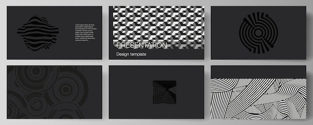 Das minimalistische abstrakte vektorillustrationslayout der präsentationsfolien entwerfen geschäftsvorlagen. trendiger geometrischer abstrakter hintergrund im minimalistischen flachen stil mit dynamischer komposition.