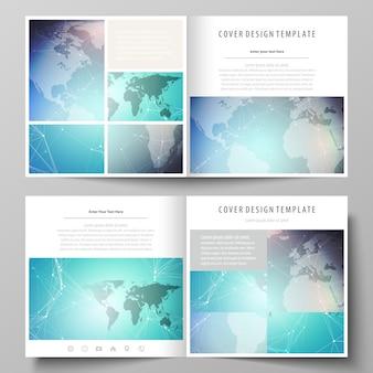 Das minimalistische layout zweier cover-vorlagen für quadratische broschüren