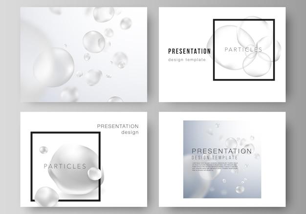 Das minimalistische vektorlayout der präsentationsfolien dient zum entwerfen von geschäftsvorlagen. spa- und gesundheitsdesign.