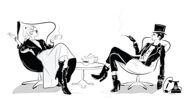 Das modemädchen im skizzenstil.
