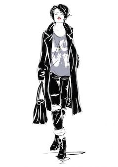 Das modemädchen in der skizzenart.