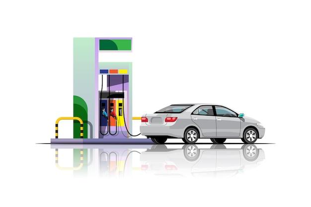 Das moderne auto füllt sich an der tankstellenillustration Premium Vektoren