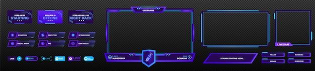 Das moderne theme für das twitch-screen-panel. die designvorlage für das overlay-png-frame-set für spiele-streaming. vektorviolettes und rosa futuristisches design.