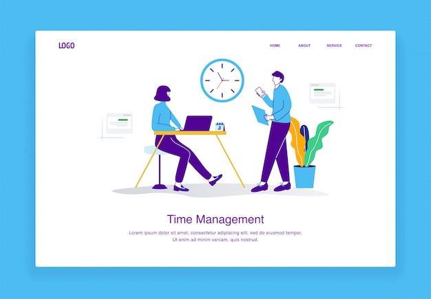 Das moderne zeitmanagement-illustrationskonzept der frau, die an einem schreibtisch und einem mann sitzt, prüft ihre stellenangebote für landingpage-vorlage