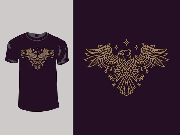 Das monoline-t-shirt-design mit adlergeometrie