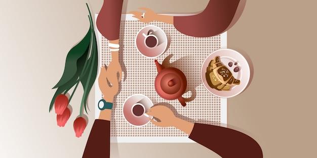 Das morgendliche date in einem cafe. draufsicht illustration