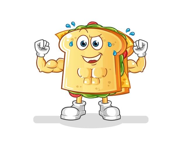 Das muskulöse cartoon-maskottchen des sandwichs. cartoon maskottchen maskottchen