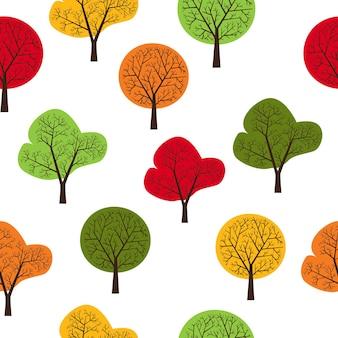 Das muster der bäume nahtlos, sich wiederholend. es kann als dekoration für stoffe, tapeten, muster für eine vielzahl von waren, gegenständen oder für design und kreativität verwendet werden.