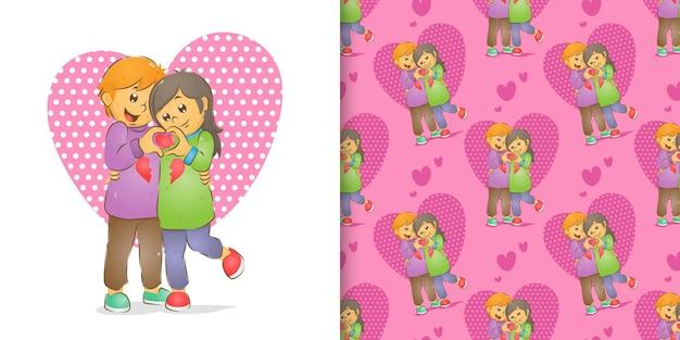 Das musterset des jungen paares feiert valentinstag mit dem paar t-shirt