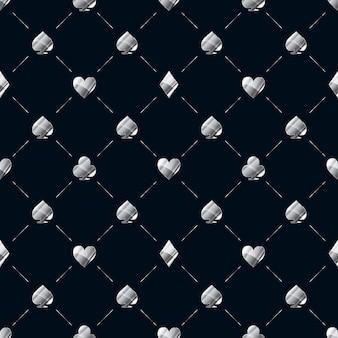 Das nahtlose luxusmuster mit der glänzenden silbernen karte passt zu symbolen wie herzen, diamanten und pik auf blau