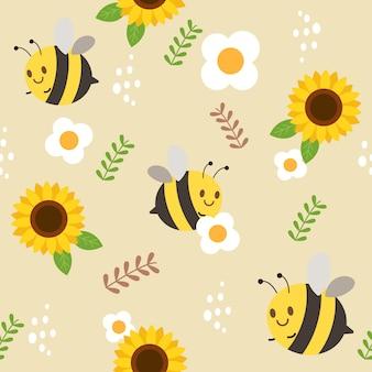 Das nahtlose muster der biene und der sonnenblume und der weißen blume und des blattes.