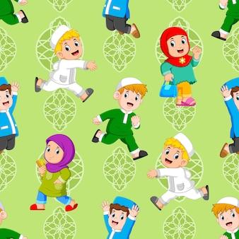 Das nahtlose muster der kinder spielt mit dem muslimischen outfit der illustration