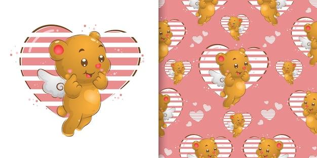 Das nahtlose muster der kleinen fee bär mit den flügeln, die viel liebe in ihrem ausdruck der illustration geben