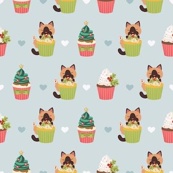 Das nahtlose muster der niedlichen katze und des cupcakes für weihnachten und weihnachtsfeier mit flachem vektorstil.