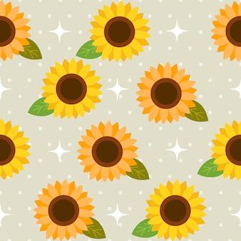 Das nahtlose muster der niedlichen sonnenblume und des gepunkteten punktes